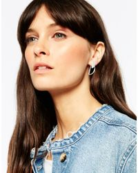 ASOS | Metallic Sterling Silver Open Half Circle Earrings | Lyst