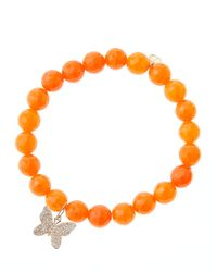 Sydney Evan - 8Mm Orange Agate Beaded Bracelet With 14K Rose Gold Diamond Butterfly Charm (Made To Order) - Lyst