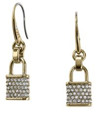 Michael Kors | Gray Pave Padlock Drop Earrings | Lyst