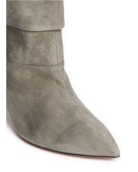 Aquazzura - Gray 'sasha' Suede Ankle Boots - Lyst