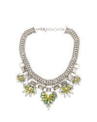 BCBGMAXAZRIA - Green Floral Stone Chain Necklace - Lyst