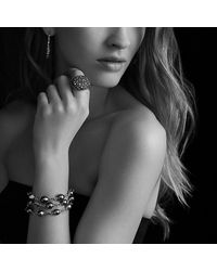 David Yurman | Metallic Three-row Bracelet With Pearls And Diamonds | Lyst