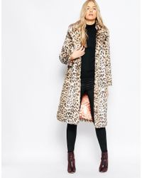 Ganni - Multicolor Gisele Long Faux Leopard Fur Coat - Lyst