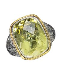 Effy | Green Balissima Sterling Silver And 18 Kt. Yellow Gold Lemon Quartz Ring | Lyst