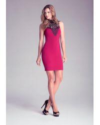 Bebe - Red Crochet Lace Dress - Lyst