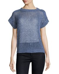 Lafayette 148 New York | Blue Open-knit Short-sleeve Sweater | Lyst