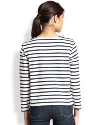 Marc By Marc Jacobs - White Jacquelyn Striped Cotton Tee - Lyst