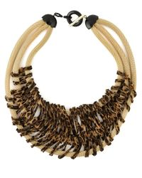 Giorgio Armani | Brown Animal Print Triple Strand Necklace | Lyst