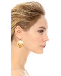 Erickson Beamon | Metallic Smiley Face Earrings - Gold | Lyst