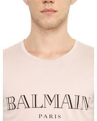Balmain - Natural Logo Printed Cotton Jersey T-shirt for Men - Lyst