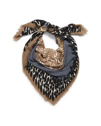 Burberry - Blue Mixed Print Wool & Modal Square Scarf - Lyst