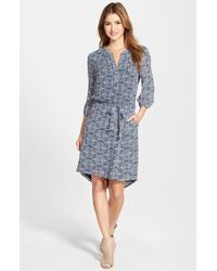 Caslon - Blue Three-quarter Sleeve Print Shirtdress - Lyst