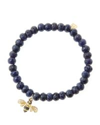 Sydney Evan - Blue 6Mm Faceted Sapphire Beaded Bracelet With 14K Gold/Diamond Bee Charm (Made To Order) - Lyst