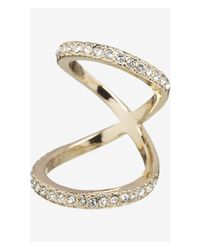 Express | Metallic Pave Embellished Floating Knuckle Ring | Lyst