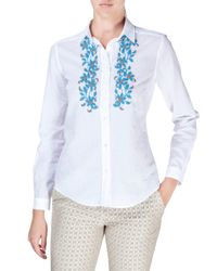 Etro - White Embroidered Cotton Button-down Blouse - Lyst