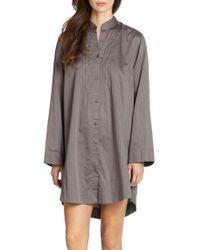 Donna Karan - Gray Cotton Sateen Sleepshirt - Lyst