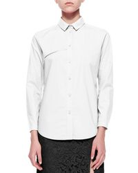 Carven - White Long-sleeve Poplin Blouse W/ Embroidery Detail - Lyst