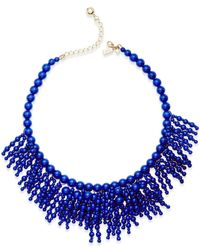 Kate Spade | Blue 12k Gold-plated Beaded Fringe Statement Necklace | Lyst