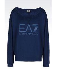 EA7   Blue Round Neck Cotton Sweatshirt   Lyst