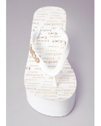 Bebe - White Logo High Wedge Flipflop - Lyst