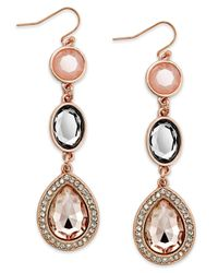 INC International Concepts - Pink Rose Gold-tone Faceted Bead And Crystal Triple Drop Earrings - Lyst