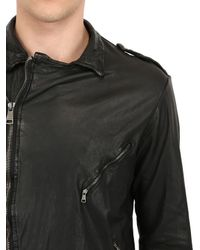 Giorgio Brato - Black Vegetable Dyed Washed Leather Jacket for Men - Lyst