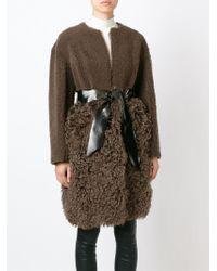 Blancha - Brown Contrasting Textures Coat - Lyst