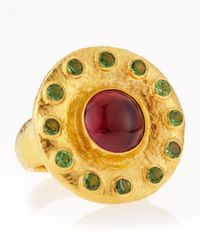Gurhan | Metallic 24k Gold Green Crystal Pink Stone Ring Size 7 | Lyst