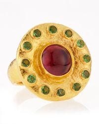 Gurhan - Metallic 24k Gold Green Crystal Pink Stone Ring Size 7 - Lyst