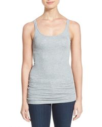 Halogen - Gray Thin Strap Rib Knit Tank - Lyst