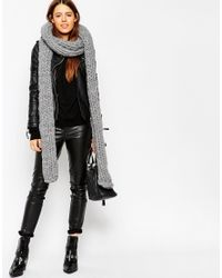 ASOS - Gray Chunky Scarf In Hand Knit With Roll Hem - Lyst