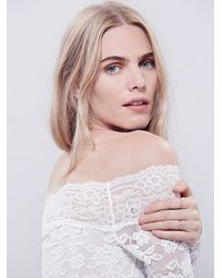 Free People - White Intimately Womens Barely There Lace Layering Top - Lyst