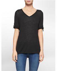 Calvin Klein - Black White Label Hardware Tab V-neck 3/4 Sleeve Sweater - Lyst