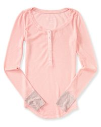 Aéropostale | Pink Long Sleeve Waffle Henley | Lyst