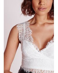 Missguided - Longline Lace Bralet White - Lyst