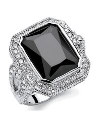 Palmbeach Jewelry - Metallic 14.25 Tcw Emerald-cut Black Cubic Zirconia Vintage Halo Cocktail Ring In Platinum-plated Finish - Lyst