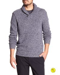 Banana Republic | Blue Factory Marled Shawl-collar Pullover for Men | Lyst