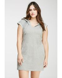 Forever 21 - Gray Plus Size Hooded French Terry Dress You've Been Added To The Waitlist - Lyst