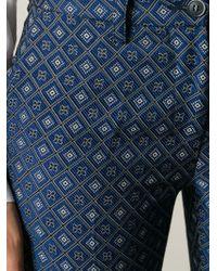 Milano Parigi - Blue Geometric Jacquard Trousers - Lyst