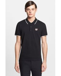 KENZO | Black Tipped Cotton Pique Polo for Men | Lyst