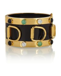 Eddie Borgo - Metallic Goldplated Enameled and Multistone Dring Cuff - Lyst