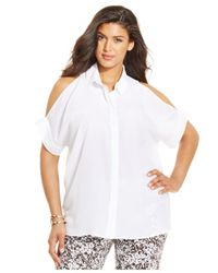 Michael Kors | White Michael Plus Size Cold-shoulder Button-front Top | Lyst