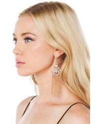 AKIRA - Metallic Crystal Drop Chain Antique Earrings - Gold/clear Crystal - Lyst