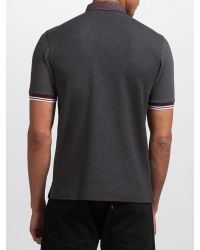 0386568937d Fred Perry Marl Gingham Trim Pique Polo Shirt in Gray for Men - Lyst