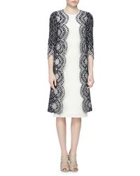 Oscar de la Renta - Blue Floral Eyelet Scalloped Tweed Jacket - Lyst