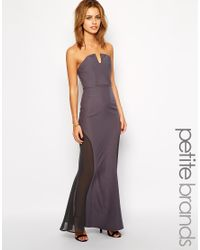 Jarlo - Gray Sheer Insert Strapless Maxi Dress - Gunmetal - Lyst