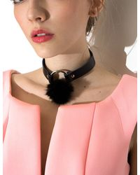 Pixie Market - Black Valfre Luna Fur Choker - Lyst