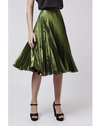 TOPSHOP - Green Foil Pleat Midi Skirt - Lyst