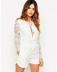 ASOS - White Premium Lace Playsuit With Lattice Tie Front - Lyst