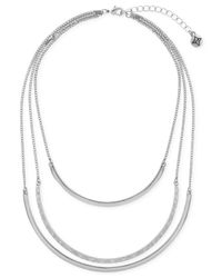 BCBGeneration | Metallic Silver-tone Three-row Collar Necklace | Lyst